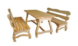 Wooden benches and table on white background. Garden furniture stock image