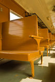 Wooden benches of tradition Bogie Third Class Carriage train. Of Thailand Stock Photos