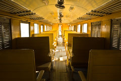 Wooden benches of tradition Bogie Third Class Carriage train stock photos