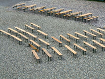 Wooden Benches Waiting for Visitors Stock Images