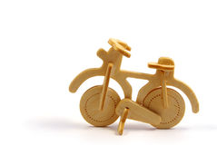 Wooden bicycle. Toy isolated on white Royalty Free Stock Photo