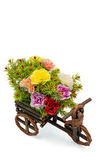 Wooden bicycle with colorful flowers on white Stock Photo