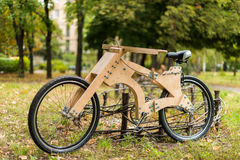 Wooden bicycle handmade from eco materials Royalty Free Stock Image