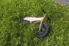 Wooden bicycle in nature Royalty Free Stock Photos