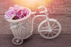 Wooden bicycle on sunset. Royalty Free Stock Photo