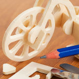 Wooden bicycle toy Stock Photo