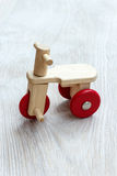 Wooden bicycle toy. Stock Photo