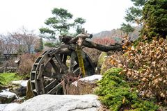 Wooden bicycle water wheel stock photo
