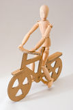 Wooden bicyclist Royalty Free Stock Photography