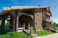 Wooden big house. From timbers in village in Russia Royalty Free Stock Photos