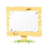 Wooden billboard with blank paper Royalty Free Stock Photography