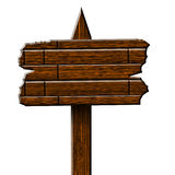 Wooden billboard sign. On a solid white background Stock Photo