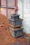 Wooden bin. And sawdust in the factory Royalty Free Stock Images