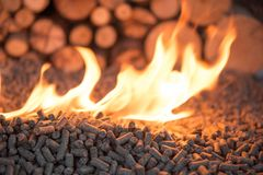 Wooden biomass in flames stock images