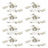 Wooden bird box wedding banner set Royalty Free Stock Photo