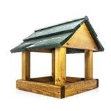Wooden Bird Feeder. Wooden Bird House Feeder on white background Stock Images