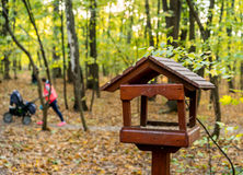 Wooden bird feeder in autumn park Royalty Free Stock Photo