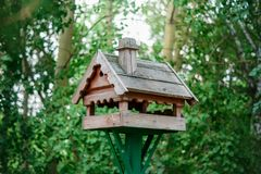 Wooden bird feeder on the background of green foliage. Homemade wooden birdhouse on a background of green foliage in summer royalty free stock images