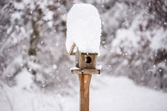 Wooden bird feeder with a tall cap of snow Stock Photo
