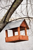 Wooden bird feeders. On the tree stock images