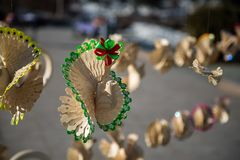 Wooden bird with green ornament Stock Photos