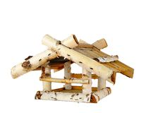 Wooden bird house. Isolated on white stock image