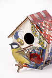Wooden bird house. On white background Stock Images