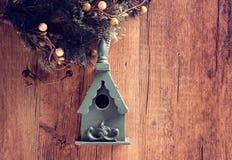Wooden bird house. On wooden royalty free stock photos
