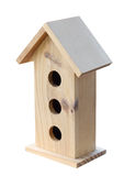 Wooden Bird House. Isolated with clipping path stock images