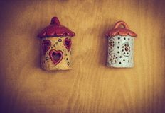 Wooden bird house with holes. Wooden bird house with little round holes stock photography