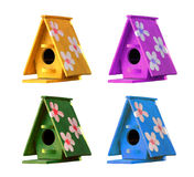 Wooden bird house. Isolated on white background royalty free stock photos