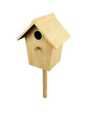 Wooden bird house on a pole isolated on a white background. 3d. Render image Stock Photography