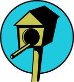 Wooden bird house in a pole. Vector file available. Illustration of a wooden bird house in a pole. Vector format available as EPS file Royalty Free Stock Images