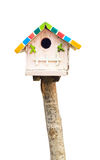 Wooden bird house on white Stock Photography