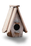 Wooden bird house on white background Royalty Free Stock Photo