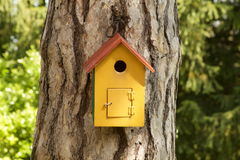 Wooden bird house. Yellow wooden bird house on a pine trunk Stock Image