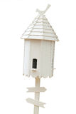 Wooden bird houseon white background Stock Photo