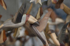 Wooden bird sculptures Royalty Free Stock Photo