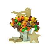 Wooden bird and star ,fruit: for all the holiday. Christmas. Royalty Free Stock Photography