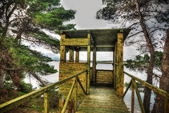 Wooden bird watching cabin in hdr Royalty Free Stock Photo