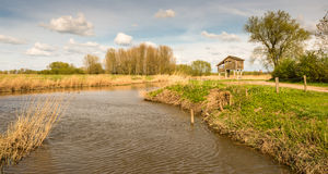 Wooden bird watching hut on concrete piles. Wooden bird observatorium at the banks of the river in a rural Dutch landscape stock photography