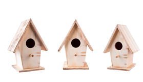 Wooden birdhouse. Set of 3 wooden birdhouses rough at different angles Stock Photography
