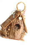 Wooden Birdhouse. House decor on white Stock Image