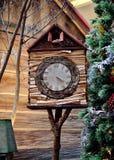 Wooden birdhouse clock. Beautiful of wooden birdhouse clock Stock Images