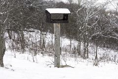 Wooden birdhouse on a pole covered with snow during a winter sto Stock Photography