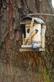Wooden Birdhouse on a Tree. Closeup on a wooden birdhouse made of a tree trunk stock image