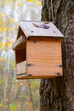 Wooden birdhouse on a tree Stock Images