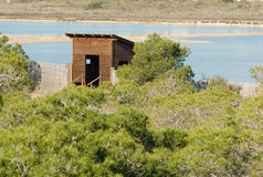 Birdwatching hideout in Las Salinas Stock Images