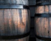 Wooden black barrel Royalty Free Stock Photo