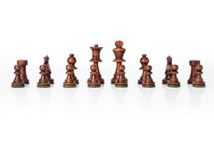 Wooden black chess set Royalty Free Stock Image
